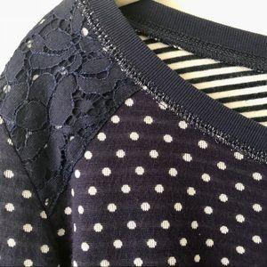 Yumi Polka Dot and Lace Sweater 100% Cotton